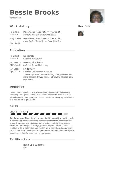 Respiratory Therapist Resume Samples   VisualCV Resume Samples .