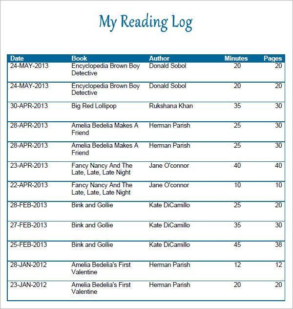Reading Log Template - 9+ Download Free Pdf, Doc