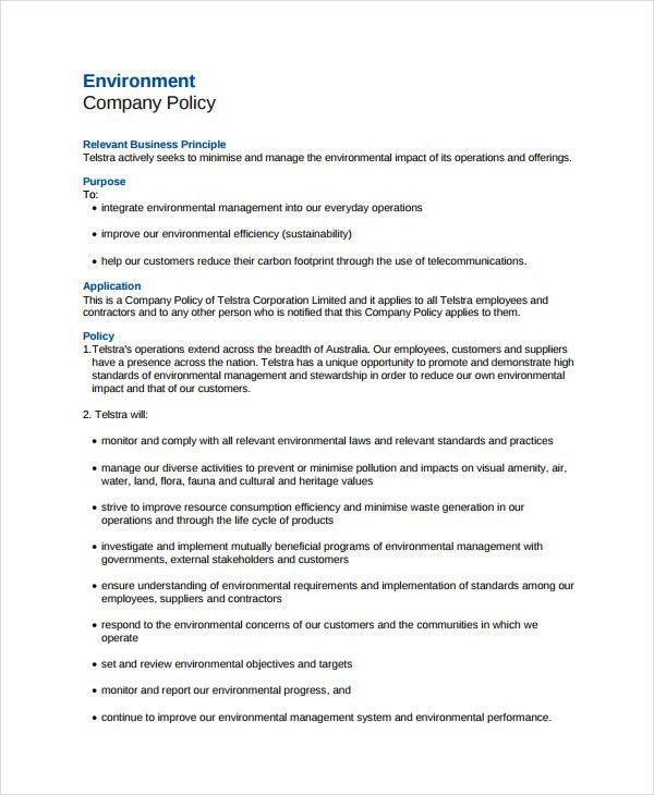 Environmental Policy Template - 7+   Free & Premium Templates