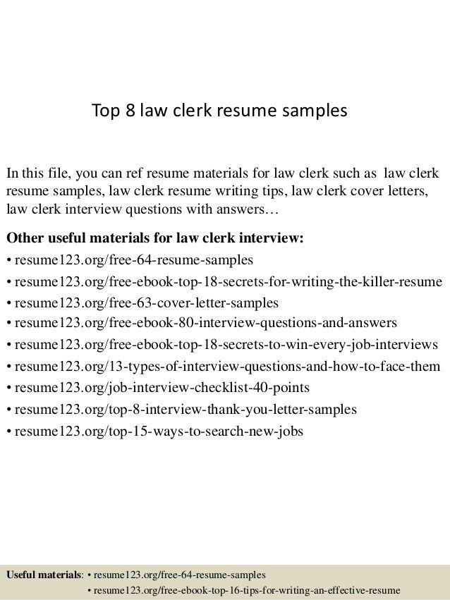 law clerk resumes