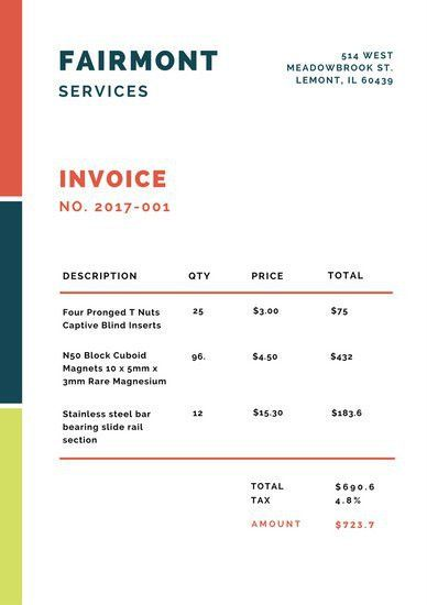 Red Blue Lines Minimalist Invoice Letterhead - Templates by Canva
