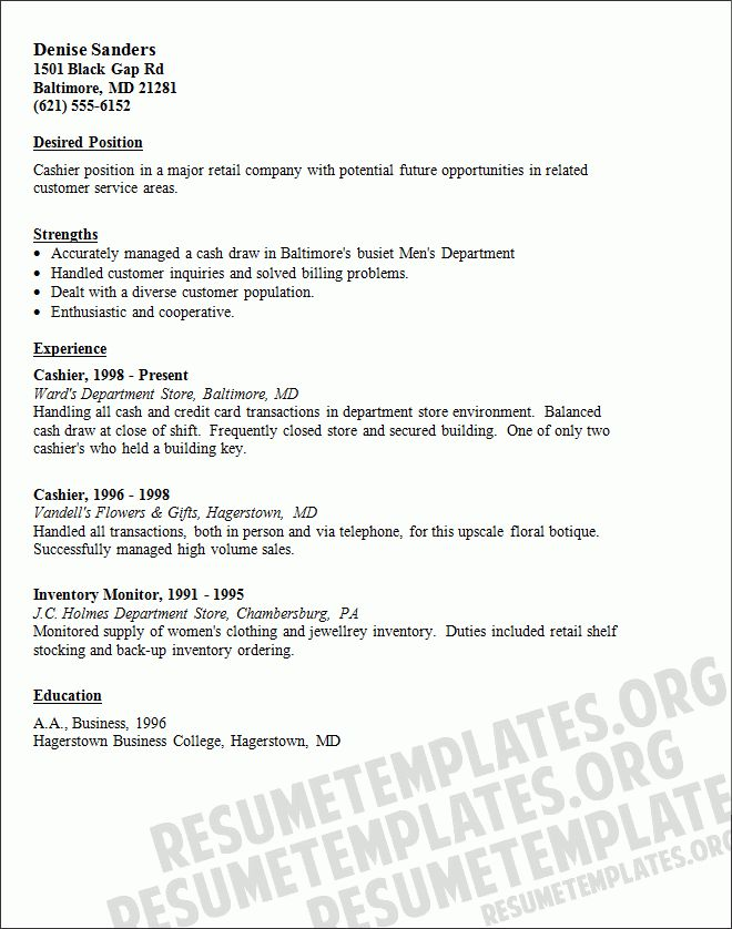 cashier combination resume sample. sample cashier resume resume ...
