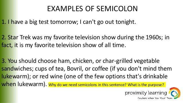 9th grade semicolons