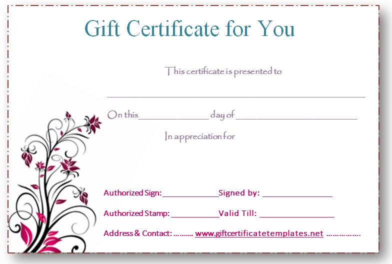 pink-flower-gift-certificate-template | Beautiful Printable Gift ...