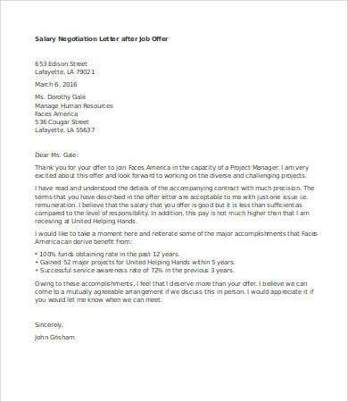 Salary Negotiation Letter. Job Offer Letter Negotiation Job Offer ...