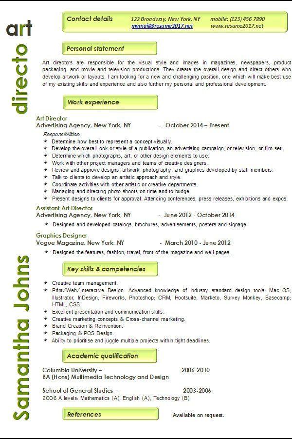 Resume examples 2017: Art Director •