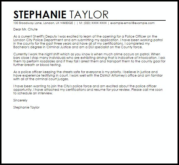 Trendy Inspiration Police Cover Letter 9 Officer Writing Guide ...