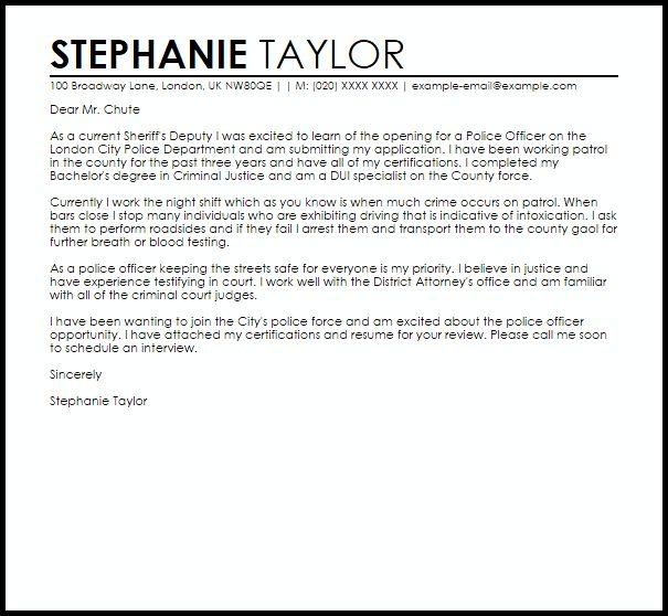 Sample Cover Letter For A Police Officer | LiveCareer