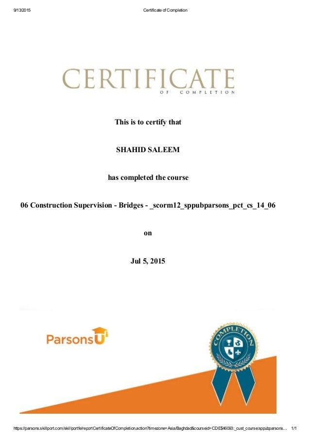 Certificate of Construction supervision of Bridges - Copy