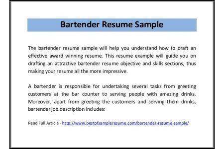 Home Design Ideas. bartender resume objective jianbochen com ...
