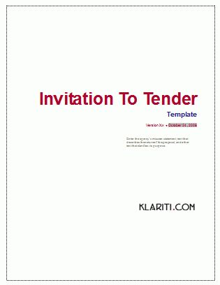 Invitation To Tender (ITT) Template (MS Word)