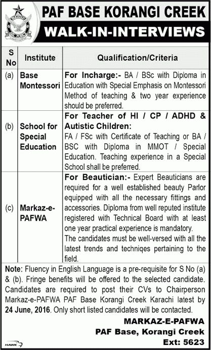 PAF Base Korangi Creek Karachi Jobs June 2016 Teachers, Montessori ...