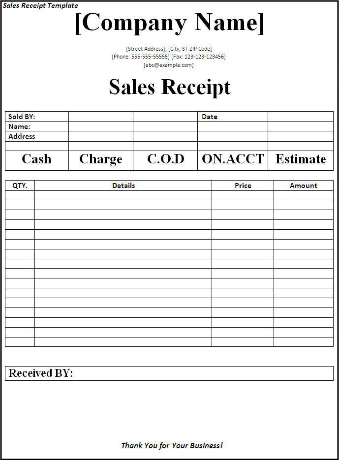 Sales Receipt Template - Word Excel PDF