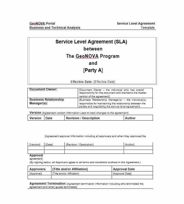 Technical Support Agreement Template. 6 service level agreement ...