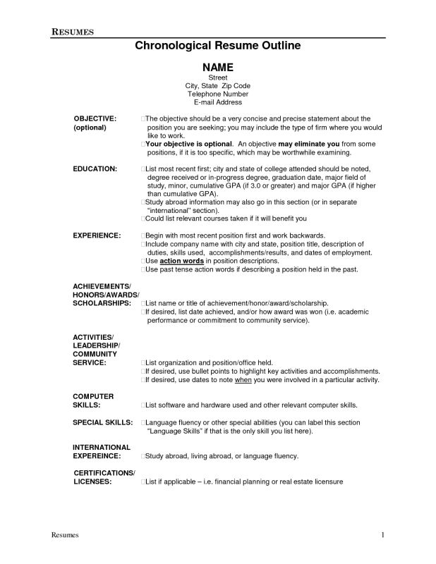 resume-outline-1 - Resume Cv