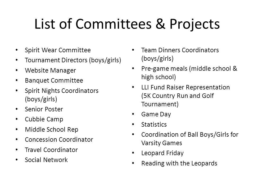 Appendix A Committee & Project Responsibility. Committees ...