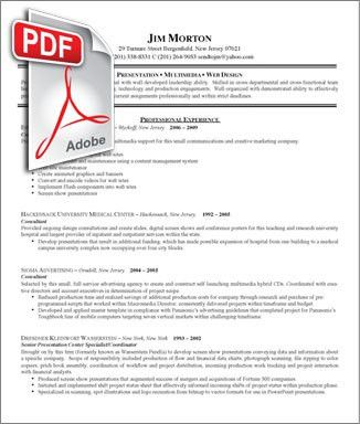 Sample Pdf Resume | Experience Resumes
