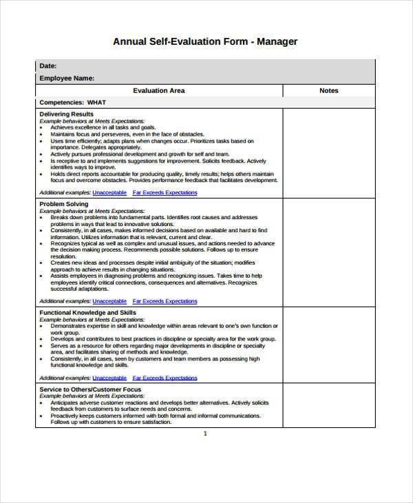 7+ Employee Self-Evaluation Form Samples - Free Sample, Example ...