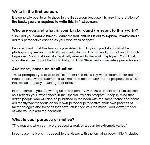 Sample Artist Statement - 8+ Documents in PDF