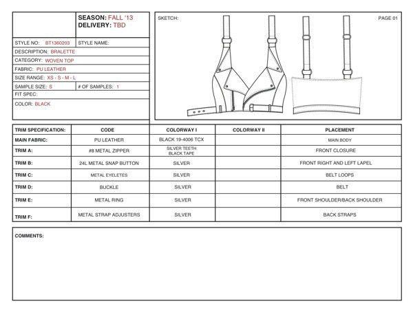 Example Tech Pack & CAD's for Hellz Bellz on Behance | Tech pack ...