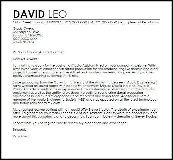 Studio Assistant Cover Letter Sample | LiveCareer