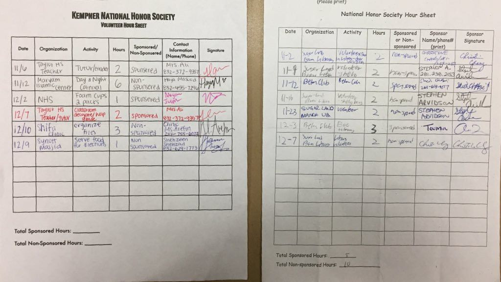 "Kempner NHS on Twitter: ""These two sheets are the official hour ..."