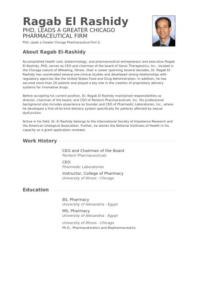 Chairman Of The Board Resume samples - VisualCV resume samples ...