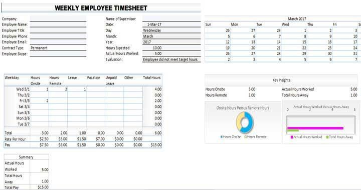 Download Free Employee Timesheet Template For Excel - Template99