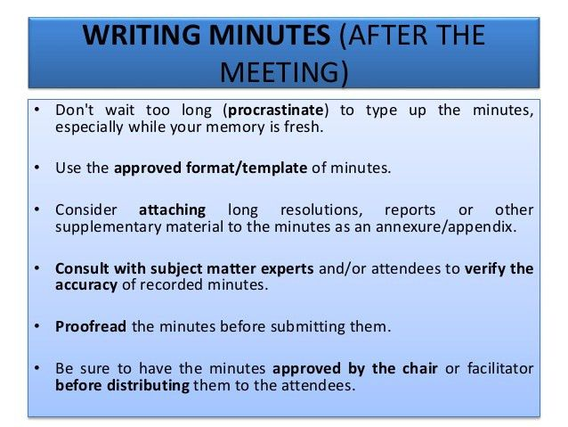 Best Practice Minute-Taking Principles, Skills, Criteria and Process