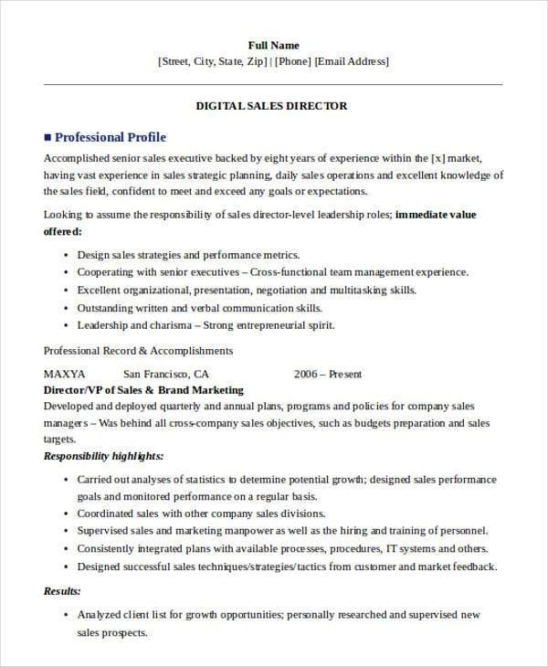 Functional resume salesperson