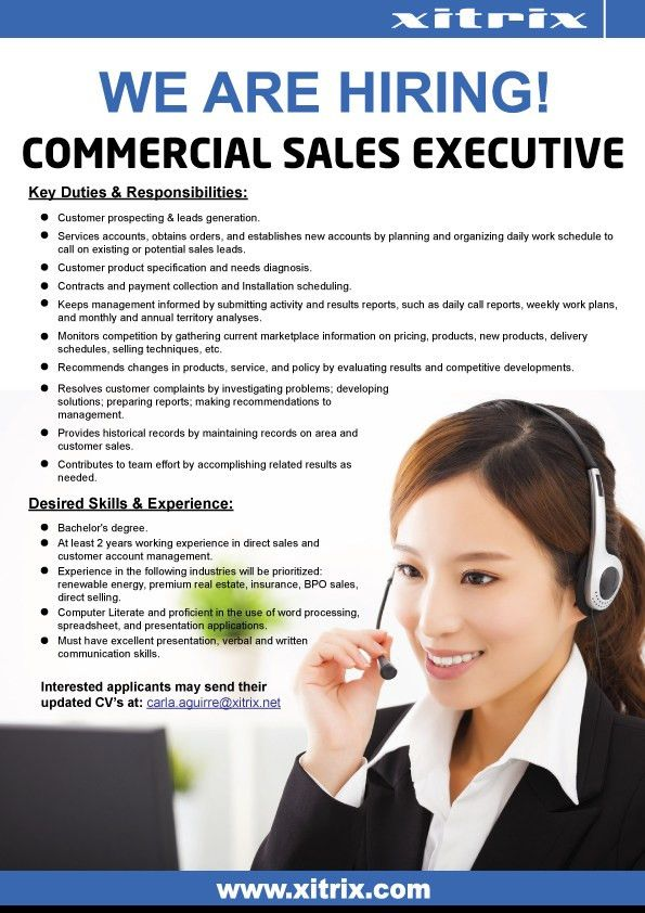 Commercial Sales Executive, Job Hiring Quezon City | PinoyJobs.ph