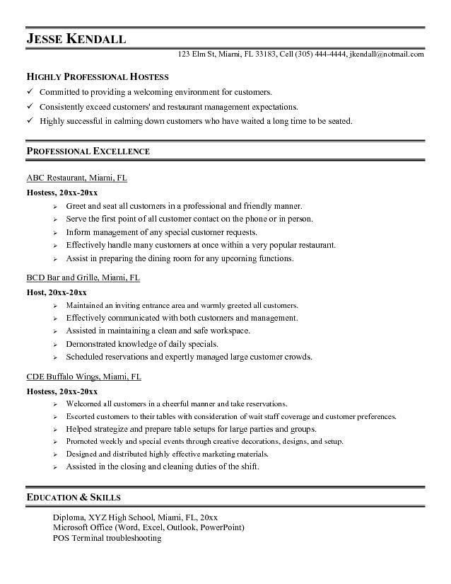 Hostess Duties Resume | Best Template Collection