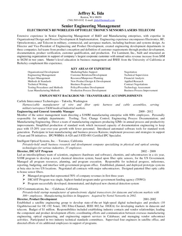 Senior Engineering Manager Resume Sample featuring Employment ...