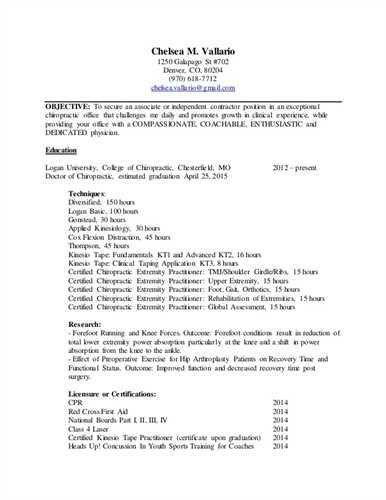 Chiropractor Resume Objective