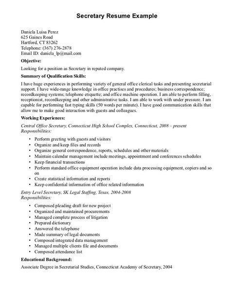 Secretary Resume. Best Legal Secretary Cover Letter Examples ...