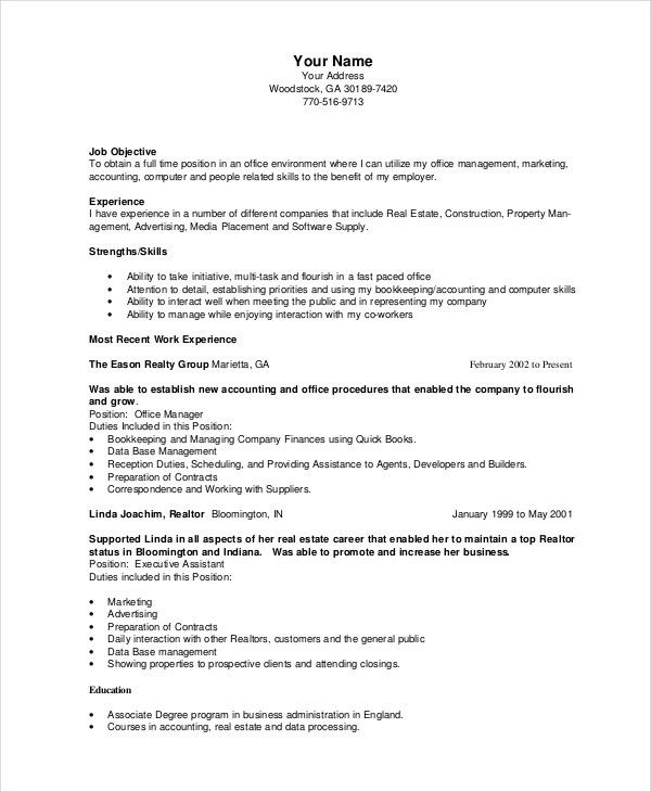 Bookkeeper Resume Template - 5+ Free Word, PDF Documents Download ...