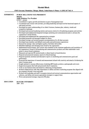 Public Relations Vice President Resume Sample | Velvet Jobs  Vp Marketing Resume