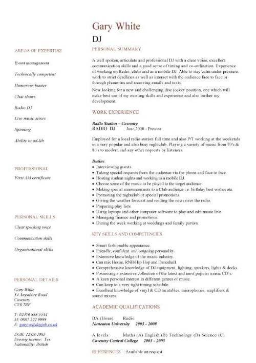 Dj Resume Free Dj Resume Example Resumecompanioncom Resume Samples - datapower resume