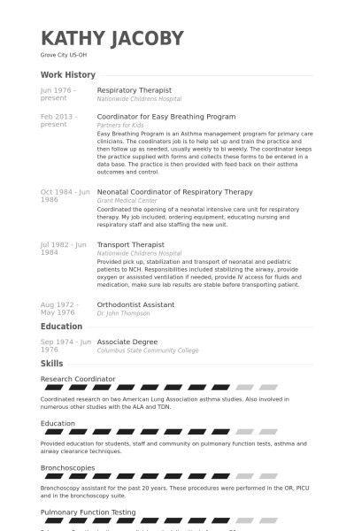Respiratory Therapist Resume Sample | jennywashere.com