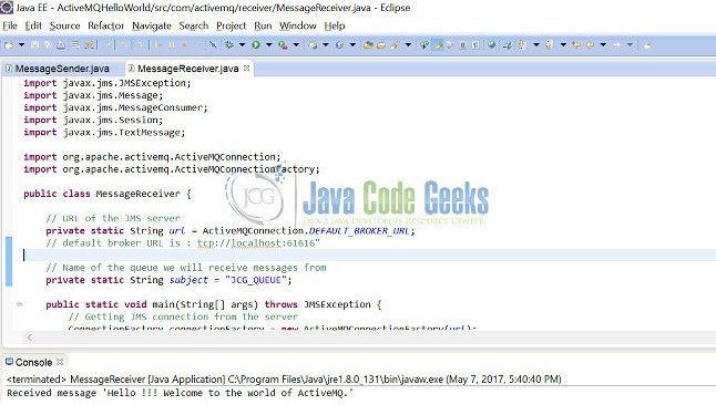 "Apache ActiveMQ ""Hello World"" Example 