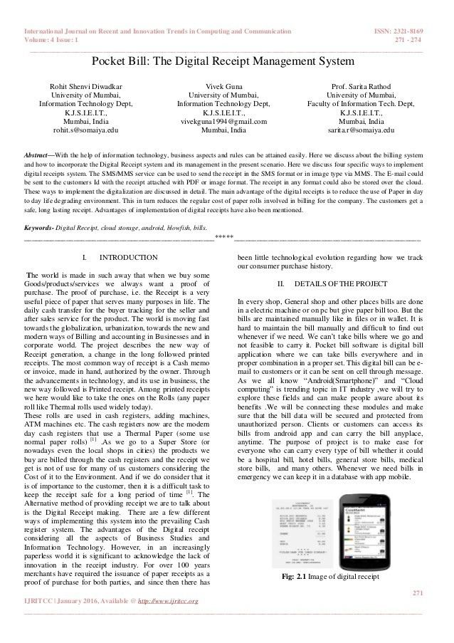 Pocket Bill: The Digital Receipt Management System