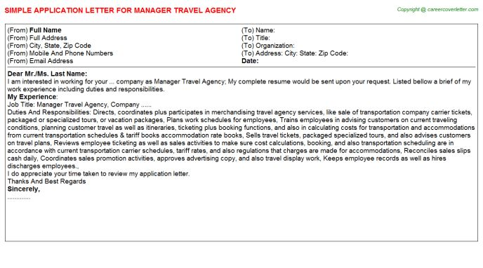Travel Agency Manager Application Letters