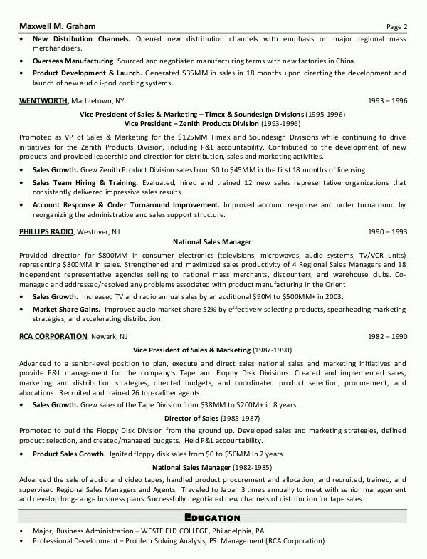 Resume Sample 5 - Senior Sales & Marketing Executive resume ...