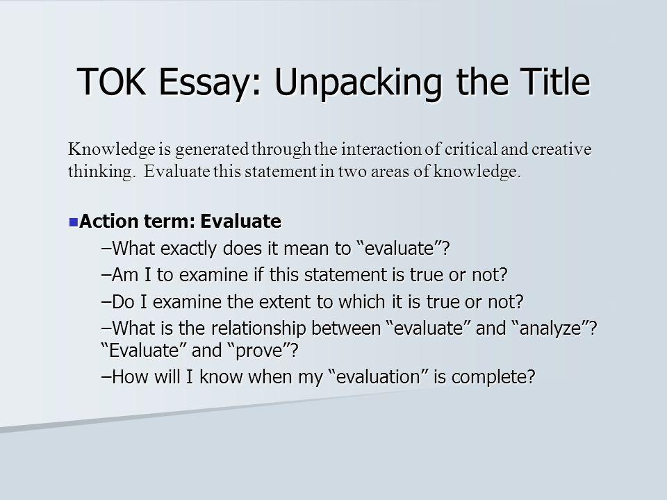 Example of Tok essay