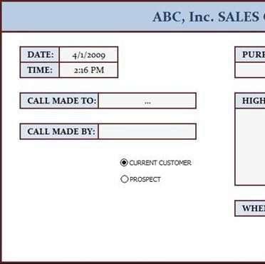 Sales Call Log