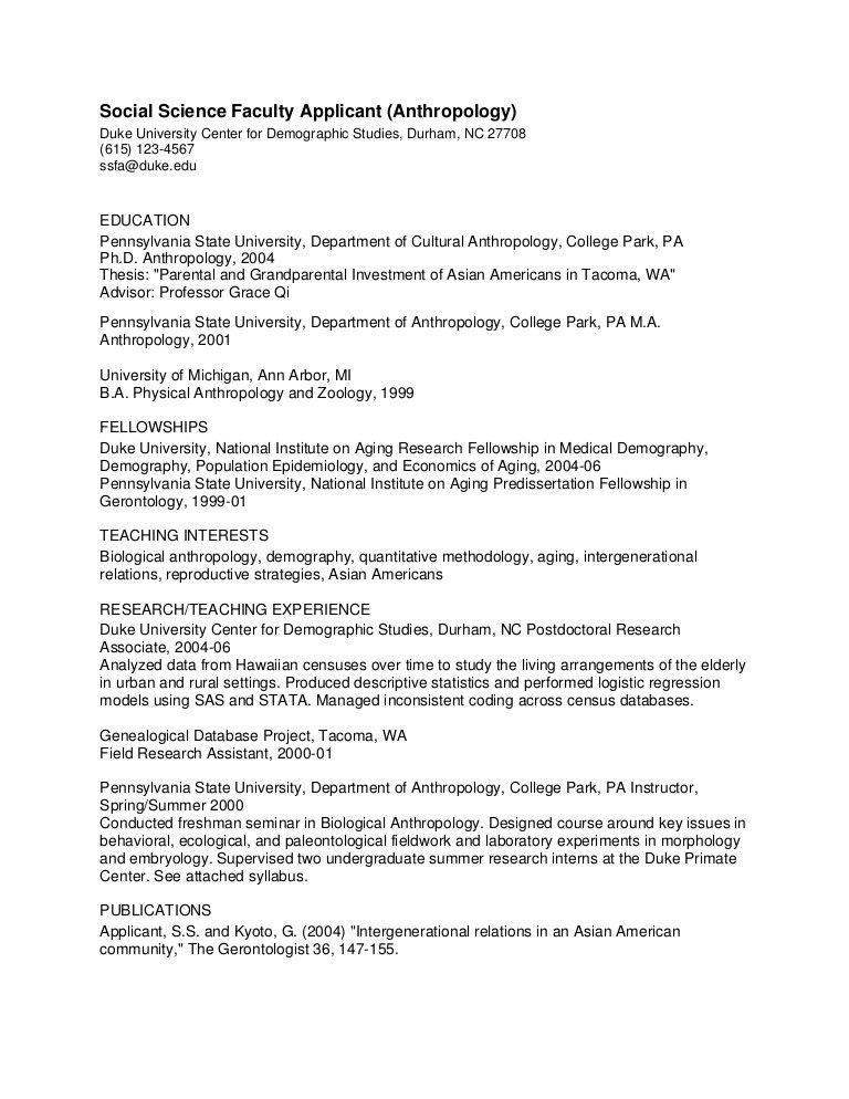 PhD CV: Anthropology Faculty