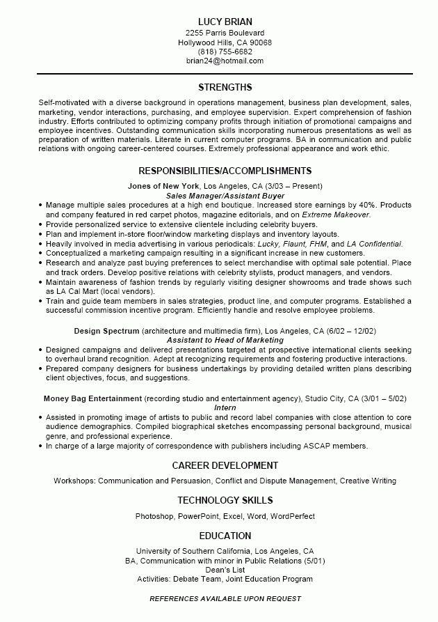 Standard Format Resume