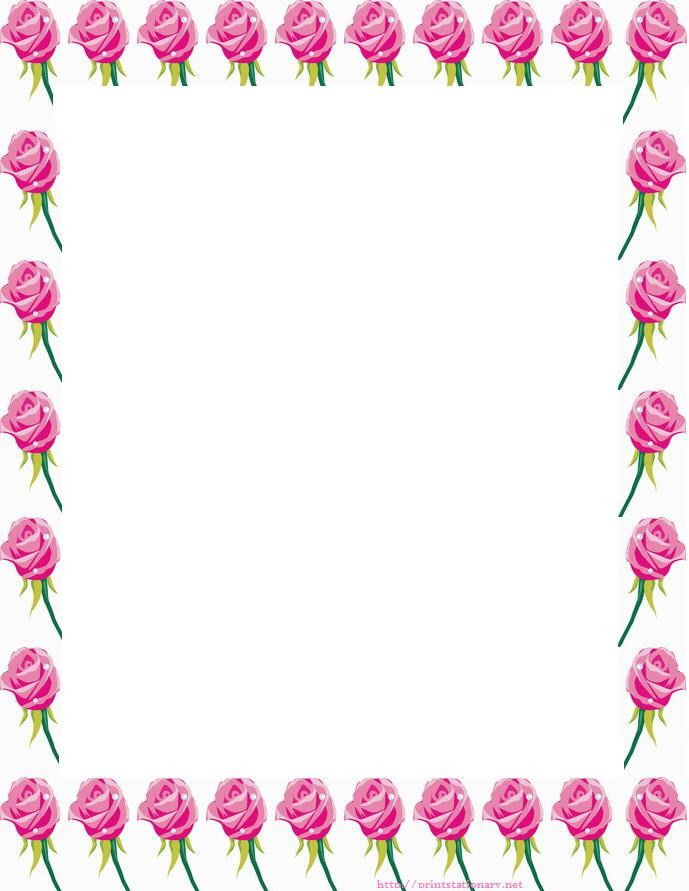 free roses stationery, free printable roses stationary letterhead ...