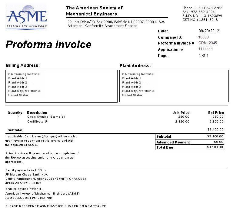 Pro-Forma Invoice: New Application for Non-Boiler Program