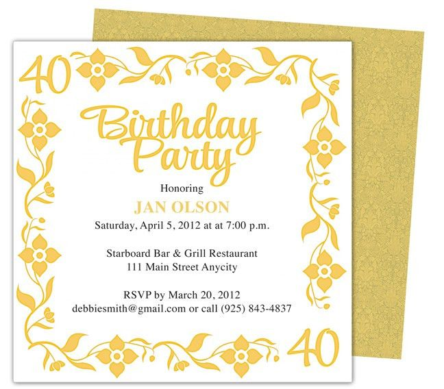 40th Birthday Invitation Wording Template | Best Template Collection